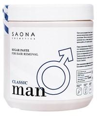 Saona Man Line Sugar Paste for Hair Removal Classic, 1000 гр.- Классическая без разогрева, сахарная паста для мужского шугаринга Саона