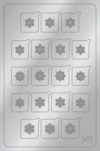 AEROPUFFING Metallic Stickers №M01 Silver  - серебрянные металлизированные наклейки Аэропуффинг М1