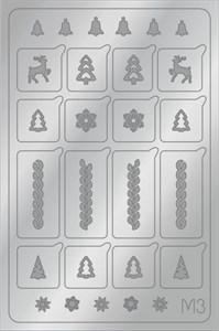 AEROPUFFING Metallic Stickers №M03 Silver  - серебрянные металлизированные наклейки Аэропуффинг М3