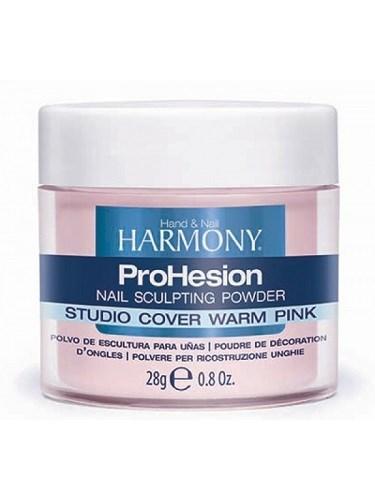 HARMONY Studio Cover Warm Pink Powder, 28 гр. - камуфлирующая насыщенно-розовая акриловая пудра для удлинения ногтей
