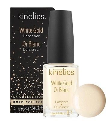 Kinetics White Gold Hardener , 15 мл. - Укрепляющее средство для ногтей, придает гладкость и бежевый оттенок с золотым мерцанием - фото 27022