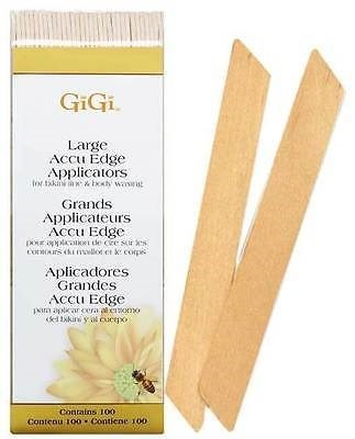 GiGi Accu Edge Spatula Large, 100 шт. - деревянный шпатель для воска, угловой большой