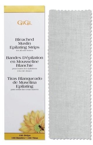 GiGi Bleached Muslin Strips, 100 шт, Отбеленные миткалевые полоски, большие 7х22см - фото 30373