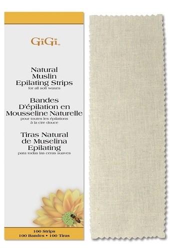 GiGi Natural Muslin Epilating Strips Large, 100 шт. - натуральные миткалевые полоски для эпиляции, большие 7х22см