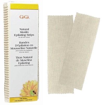 GiGi Natural Muslin Epilating Strips Small,100 шт. - миткалевые натуральные полоски для эпиляции, маленькие 4х11см