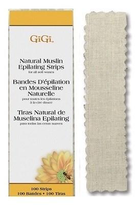 GiGi Natural Muslin Epilating Strips,100 шт. - миткалевые натуральные полоски для эпиляции, мини 2х11см