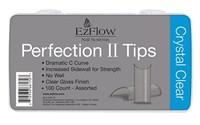 EzFlow Perfection II Crystal Clear Nail Tips, 100 шт. - прозрачные типсы без контактной зоны, ассорти №1-10