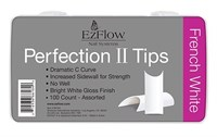 EzFlow Perfection II French White Nail Tips, 100 шт. - белые типсы без контактной зоны, ассорти №1-10
