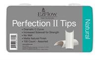 EzFlow Perfection II Natural Nail Tips, 100 шт. - натуральные типсы без контактной зоны, ассорти №1-10