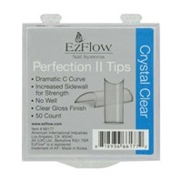 EzFlow Perfection II Crystal Clear Nail Tips #9, 50 шт. - прозрачные типсы без контактной зоны №9