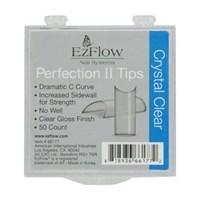 EzFlow Perfection II Crystal Clear Nail Tips #0, 50 шт. - прозрачные типсы без контактной зоны №0