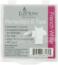 EzFlow Perfection II French White Nail Tips #3, 50 шт. - белые типсы без контактной зоны №3