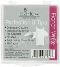 EzFlow Perfection II French White Nail Tips #8, 50 шт. - белые типсы без контактной зоны №8