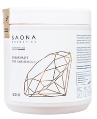 Saona Diamond Line Sugar Paste for Hair Removal Gold, 1000 гр.- Очень мягкая без разогрева, сахарная паста для шугаринга Саона