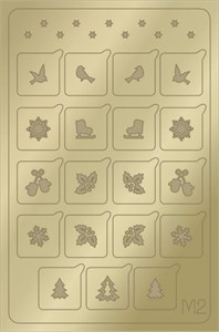 AEROPUFFING Metallic Stickers №M02 Gold  - золотые металлизированные наклейки Аэропуффинг М2