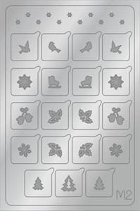 AEROPUFFING Metallic Stickers №M02 Silver  - серебрянные металлизированные наклейки Аэропуффинг М2