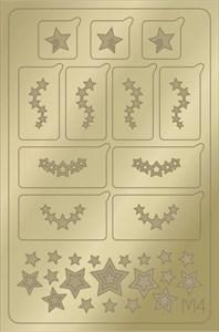 AEROPUFFING Metallic Stickers №M04 Gold  - золотые металлизированные наклейки Аэропуффинг М4