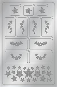 AEROPUFFING Metallic Stickers №M04 Silver  - серебрянные металлизированные наклейки Аэропуффинг М4
