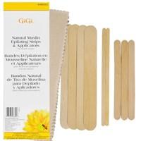 GIGI Natural Muslin & Spatula Combo Kit - набор из полосок для эпиляции и шпателей