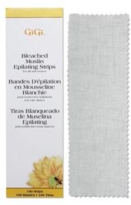 GiGi Bleached Muslin Strips Large, 100 шт. - отбеленные миткалевые полоски для эпиляции, большие 7х22см