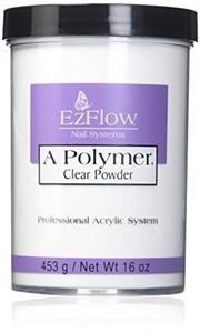 Прозрачная пудра акриловая EzFlow A-Polymer Clear, 454 гр. для моделирования искусственных ногтей