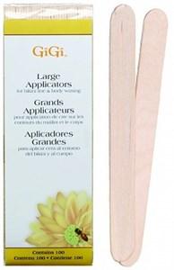 GiGi Spatula Large, 100 шт. - большой деревянный шпатель для нанесения воска, закругленный